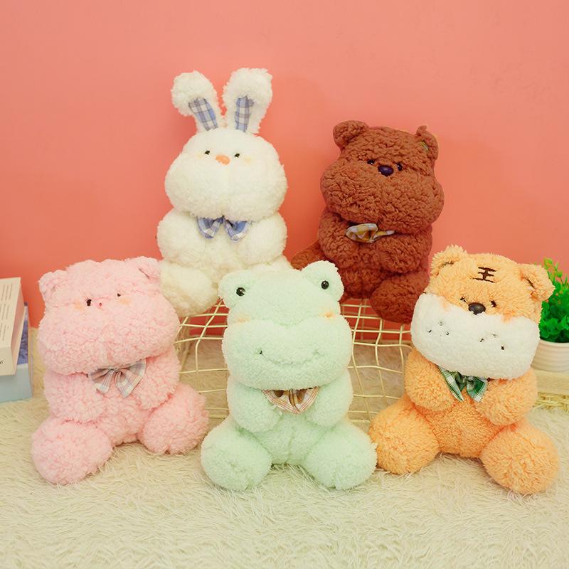 可爱萌宠兔子公仔碎花围巾熊毛绒玩具厂家直供礼物企业礼品定制