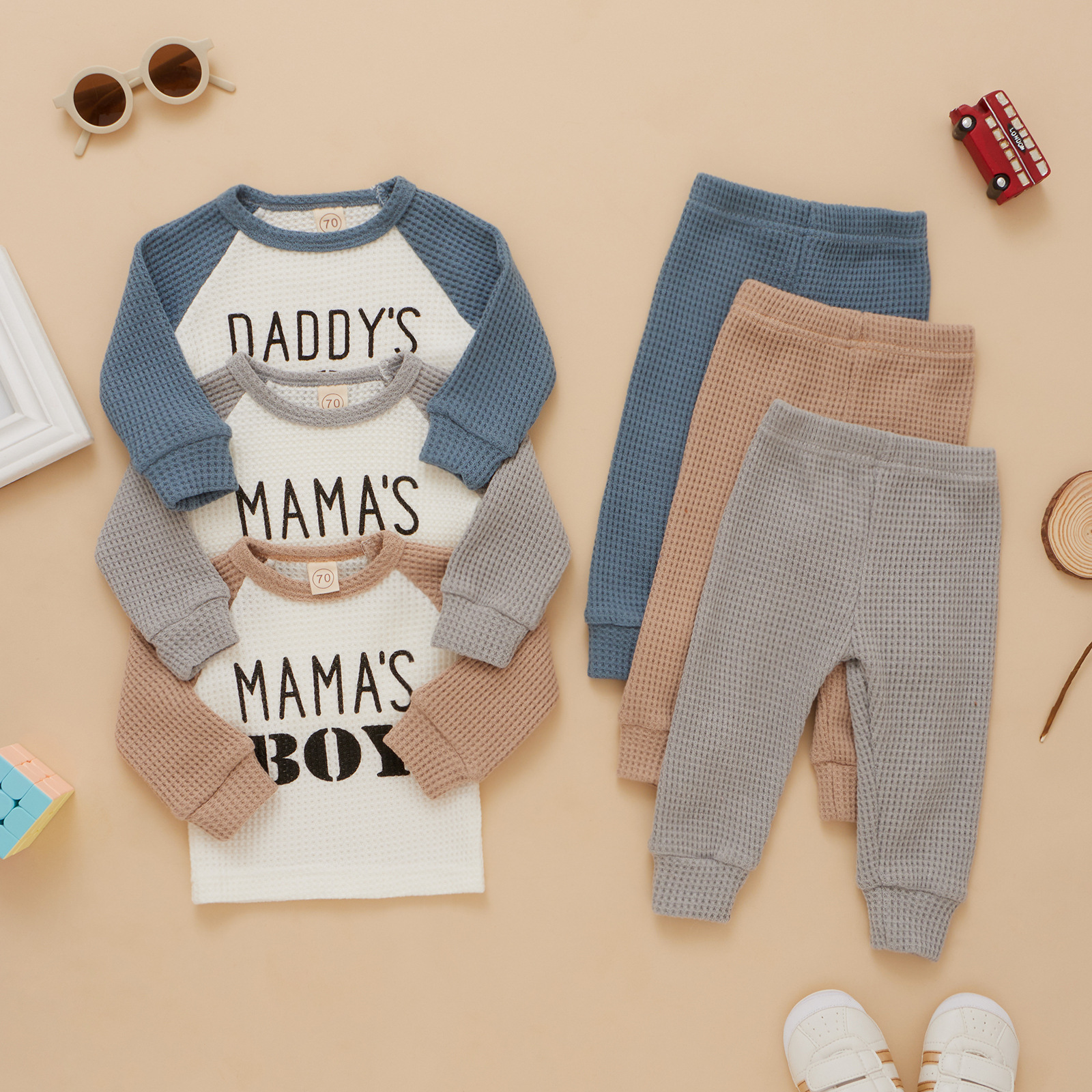 Boy's Autumn Suit Children's Clothing Letter Pullover and Trousers Suit