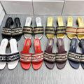 女鞋新款女凉鞋女夏D家复古刺绣字母粗跟一字女拖鞋 时尚外穿凉拖