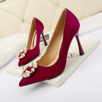 8777-9 han edition fashion tip diamond show thin and sexy high-heeled shoes women's shoes heel shoes web celebrity party