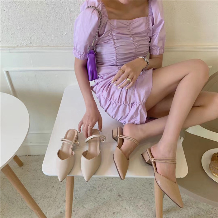 spring new pointed thick heel sandals  NSHU35977