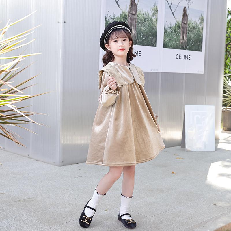 女童韩版连衣裙秋季丝绒连衣裙2021儿童长袖裙子宽松金貂绒公主裙