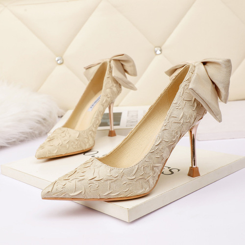 Han edition style 9811-1 point light mouth high-heeled shoes bowknot is fine with thin and sexy web celebrity shoes women's shoes