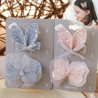 2pack Children's bow hair accessories stage performance photos bunny ears baby hairpin girl cute princess side clip girl headdress