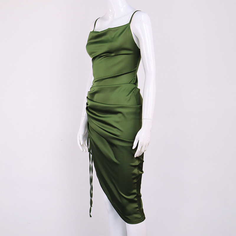 new fashion sexy backless lace-up slit pleated sling long skirt  NSMI26094