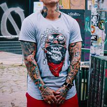 2021歐美外貿跨境新款男裝 休閑圓領短袖印花長款套頭男式T恤