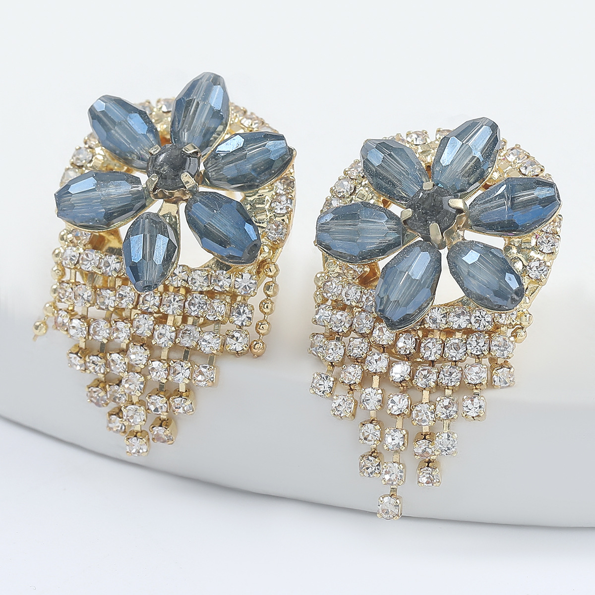 Fashion alloy diamond acrylic flower tassel earrings  NHJE298024