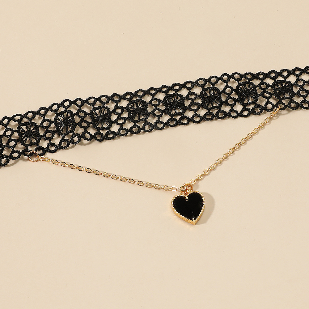 sexy black lace heart pendant necklace NHDP314300