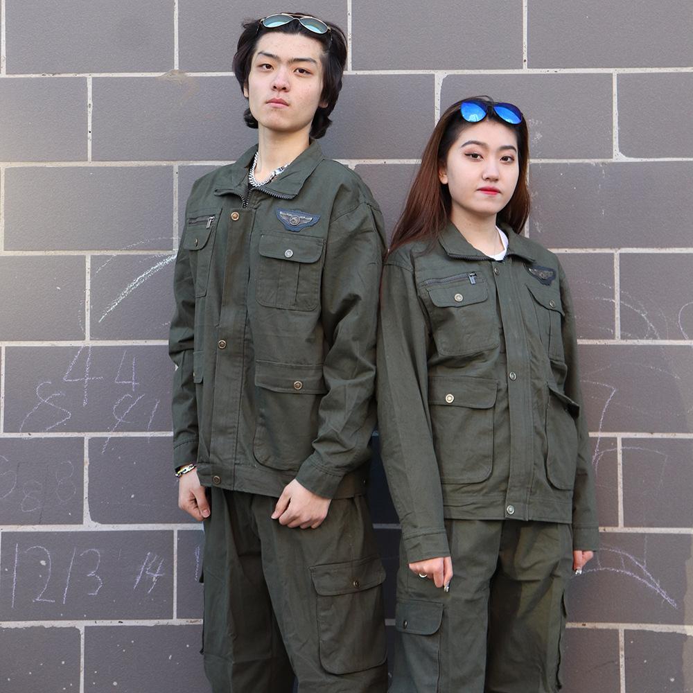 棉线军绿长袖工作服套装男车间厂服电焊工汽修耐磨防烫劳保工作服