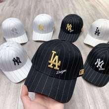 韩国专柜代购棒球帽男女20新条纹网眼平板帽遮阳帽子爆款明星同款