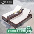 户外藤编休闲躺床 藤编沙滩椅折叠沙滩椅可定制沙滩躺椅 佛山家具