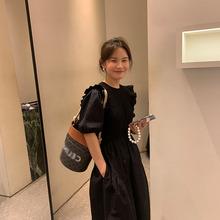 泡泡袖連衣裙法式G級感赫本風黑色收腰顯瘦氣質桔梗裙中長款女裝