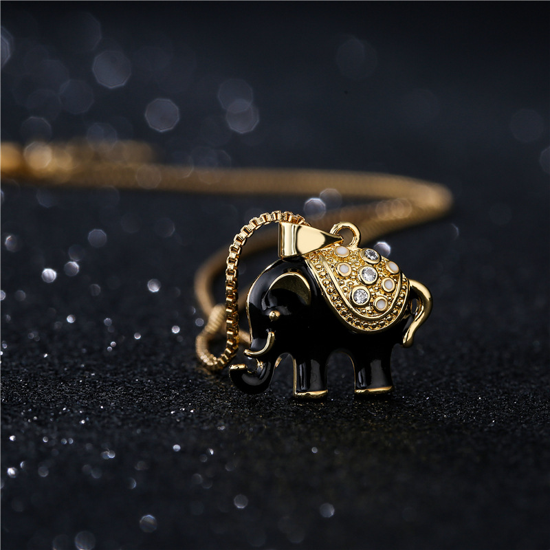 fashion black and white twocolor oily elephant pendant necklace NHFMO369123