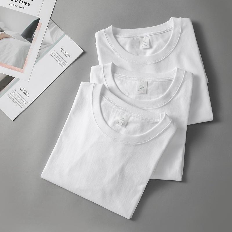 280g白色圆领tshirt男女新疆棉t恤 男士纯棉短袖重磅t恤定做logo