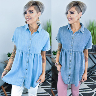 2021 European and American independent station short-sleeved lapel wash water loose casual denim dress Amazon new