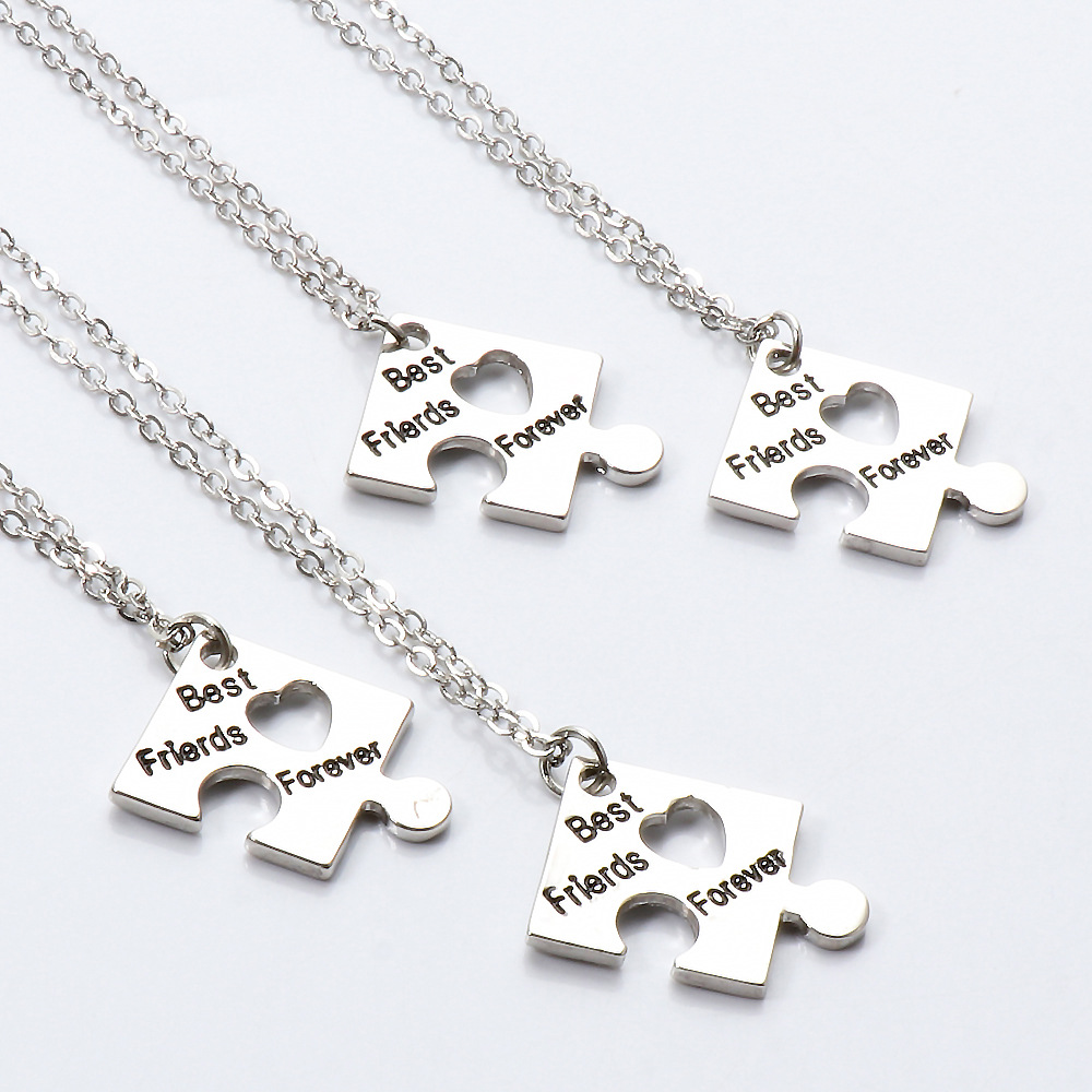 Geometric jigsaw titanium steel lovers four pieces of necklace personality contracted necklace