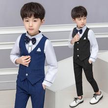 男童西装套装秋冬儿童礼服马甲长袖花童英伦男孩休闲洋气小西服