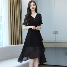 2021台灣紗雪紡連衣裙新款夏季氣質女神范v領黑色不規則中長款