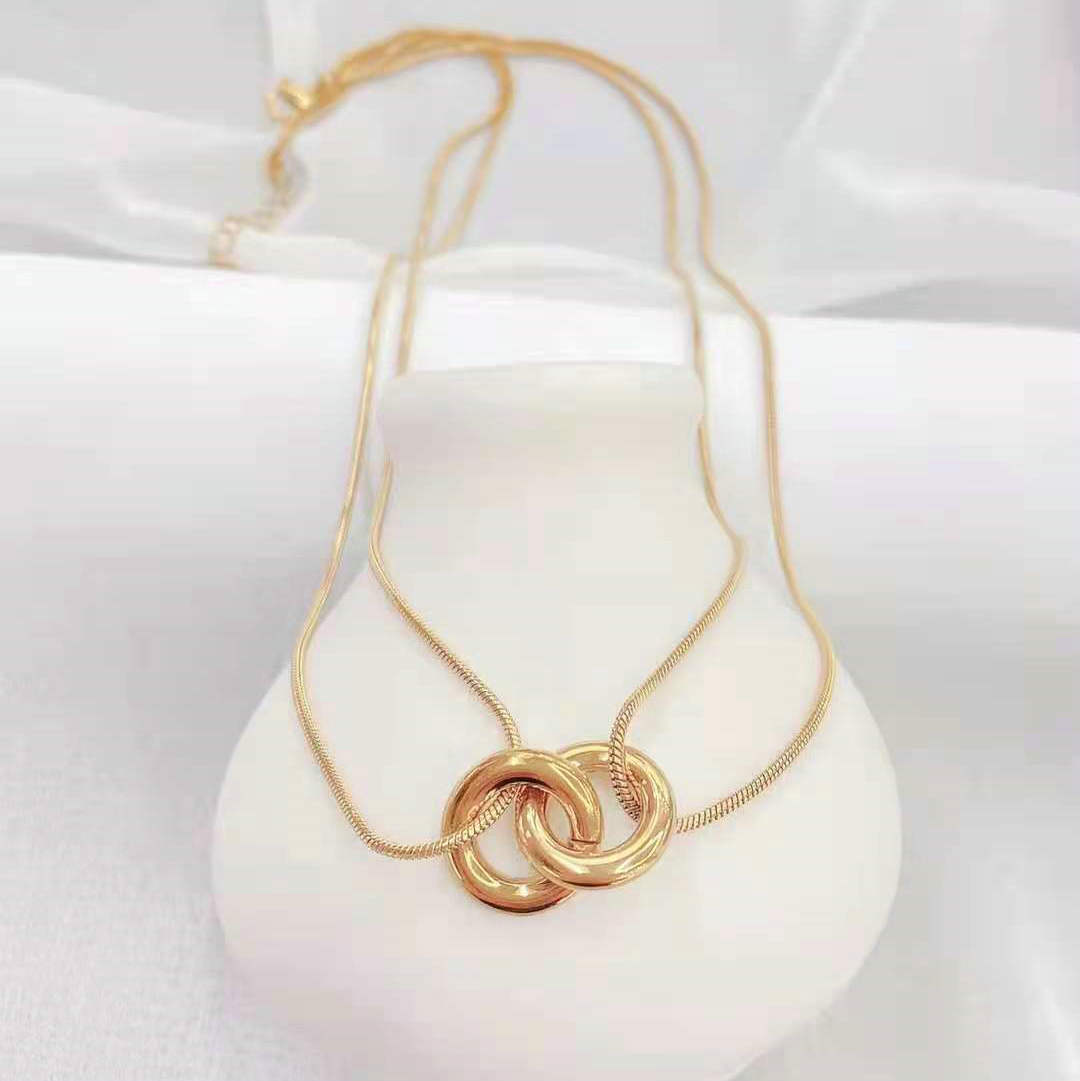 fashion double cross ring pendant stainless steel multilayer necklace  NHJIE372378