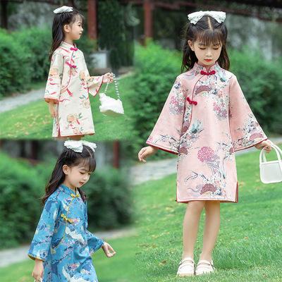 Girls kids Long sleeve cheongsam dress qipao chinese dress princess dress for girls tang suit and hanfu