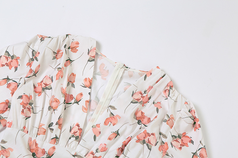 women s single-breasted low-cut print slim dress nihaostyles clothing wholesale NSXPF74065