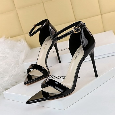 528-A1 European and American wind fashion contracted fine with high heels pointed peep-toe word single shoes with high