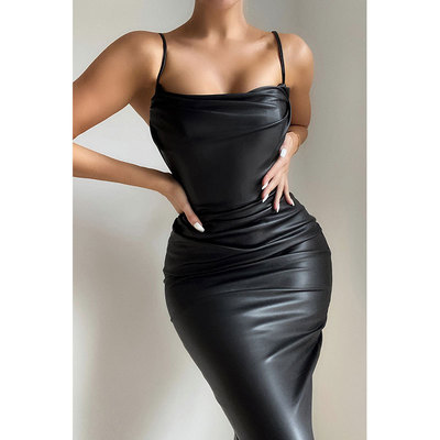 Adult Party girl singers hot dance Nightclub bar dress sexy Black PU leather pleated sling bag hip dress for women
