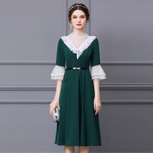 智麗連衣裙設計感小眾2021新款夏季蕾絲喇叭袖腰帶收腰中長款裙子
