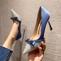 8777-8 show fine thin high-heeled shoes with Europe and the United States sexy pointed bow joker women's shoes web celebrity color matching pair