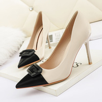 8666-12 in Europe and the sexy pointed shallow mouth high-heeled shoes color matching thin and sexy single shoes professional OL show thin women's shoes