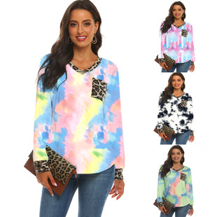 Amazon cross-border 2020 autumn and winter V-neck leopard print stitching pocket casual T-shirt gradient tie-dye long-sleeved top
