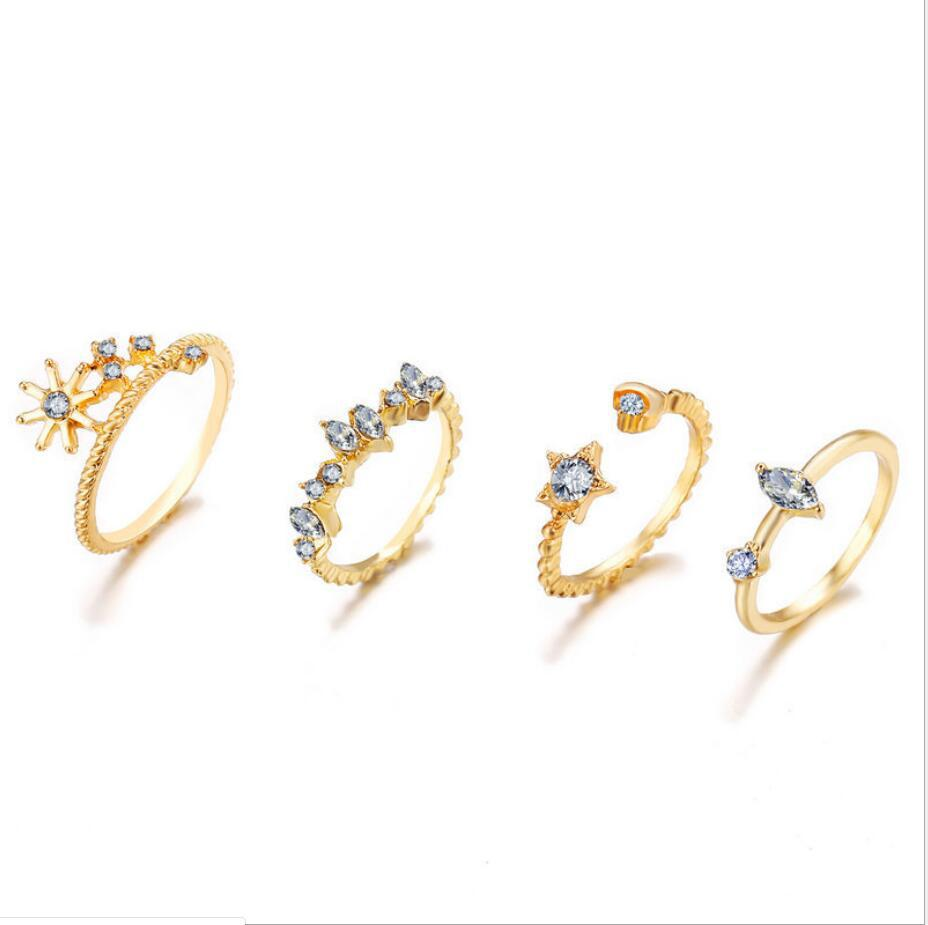 simple star crescent ring 9 piece set  NHYI316354