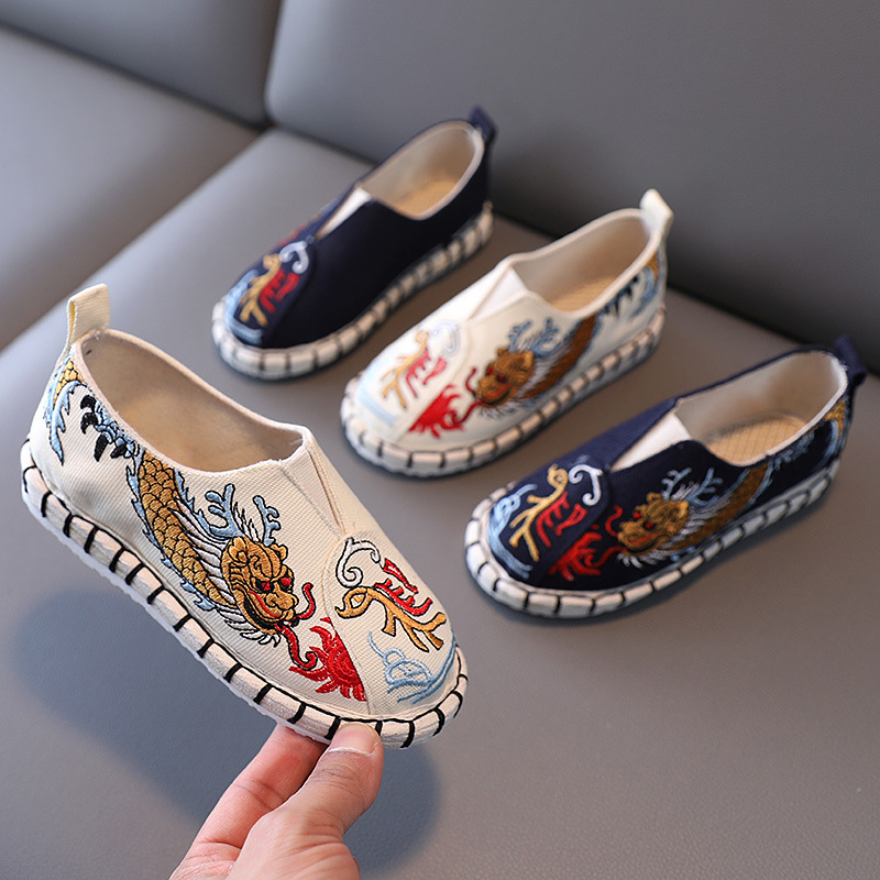 Boys Hanfu shoes Old Beijing cloth embroidered gold dragon shoes for kids Chinese style folk costume shoes prince emperor cosplay shoes for boy