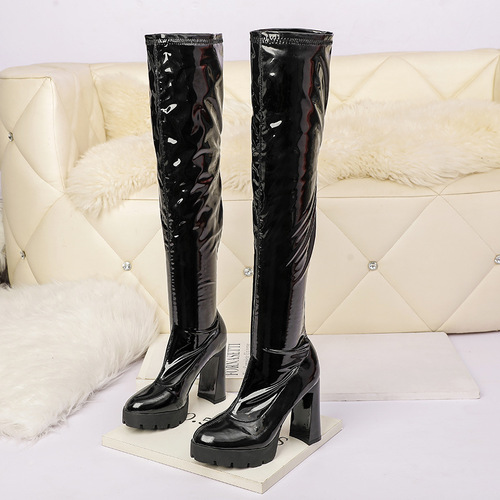 1663-5 in Europe and the us show thin and sexy web celebrity boot thick with over-the-knee stretch boots nightclub pedicure thick autumn winter boots