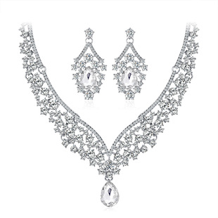 Factory direct sales new bridal jewelry set, two-piece crystal set with diamonds, wholesale wedding banquet jewelry