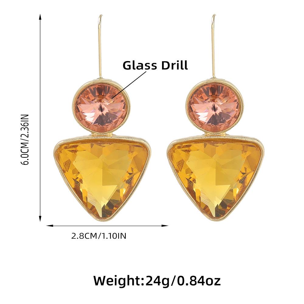 Fashion Alloy Diamond Triangle Geometric earrings NHJE311639