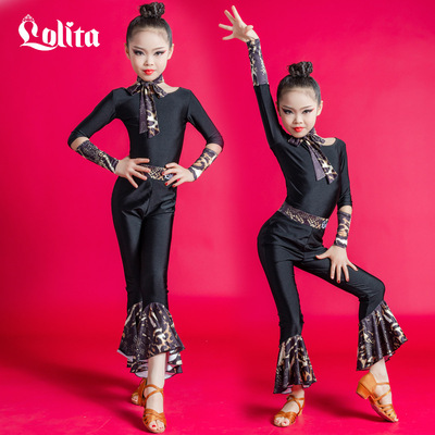 Children black Latin dance clothes Girls latin practice clothes modern dance latin Performance costume