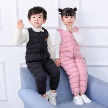 2020冬季儿童背带裤宝宝连体羽绒棉裤套装男童女童小孩加厚长棉裤