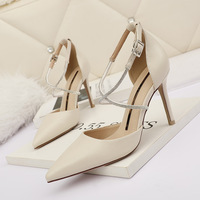 6333-2 han edition fashion point light mouth high-heeled shoes with cross sexy shoes with diamond fine web celebrity for women's shoes