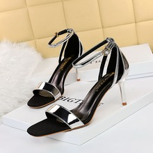 1219-1 the European and American wind restoring ancient ways is summer high heel fashion shoes with metal peep-toe hollow out one word with sandals