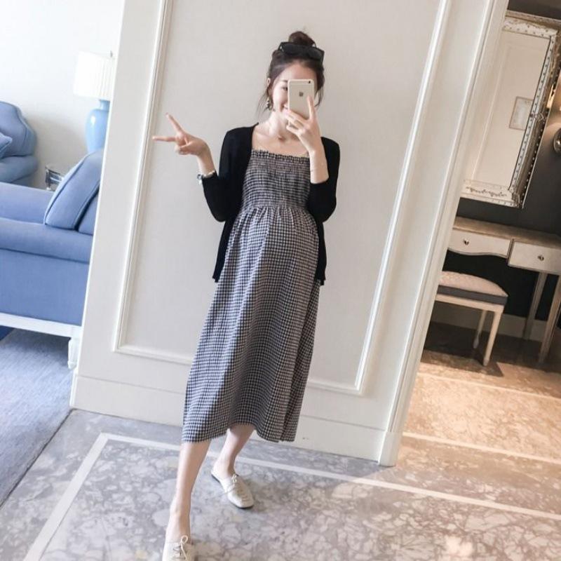 孕妇装格子连衣裙套装2021孕妇装新款夏装开衫孕妇装背心裙两件套