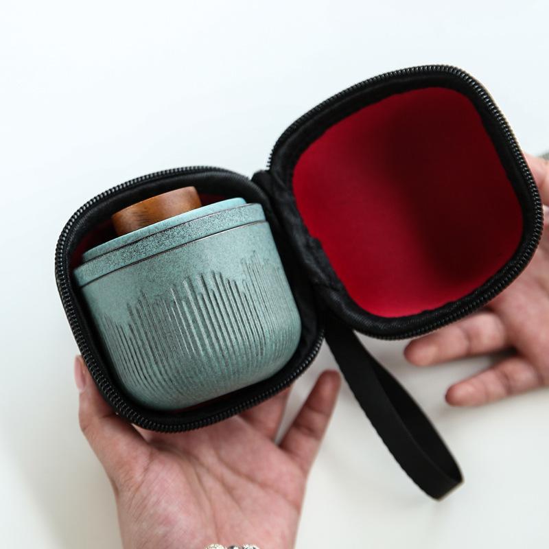 Travel portable Kung Fu ceramic teacups set outdoor car fast passenger cup mini portable bag filter tea cup