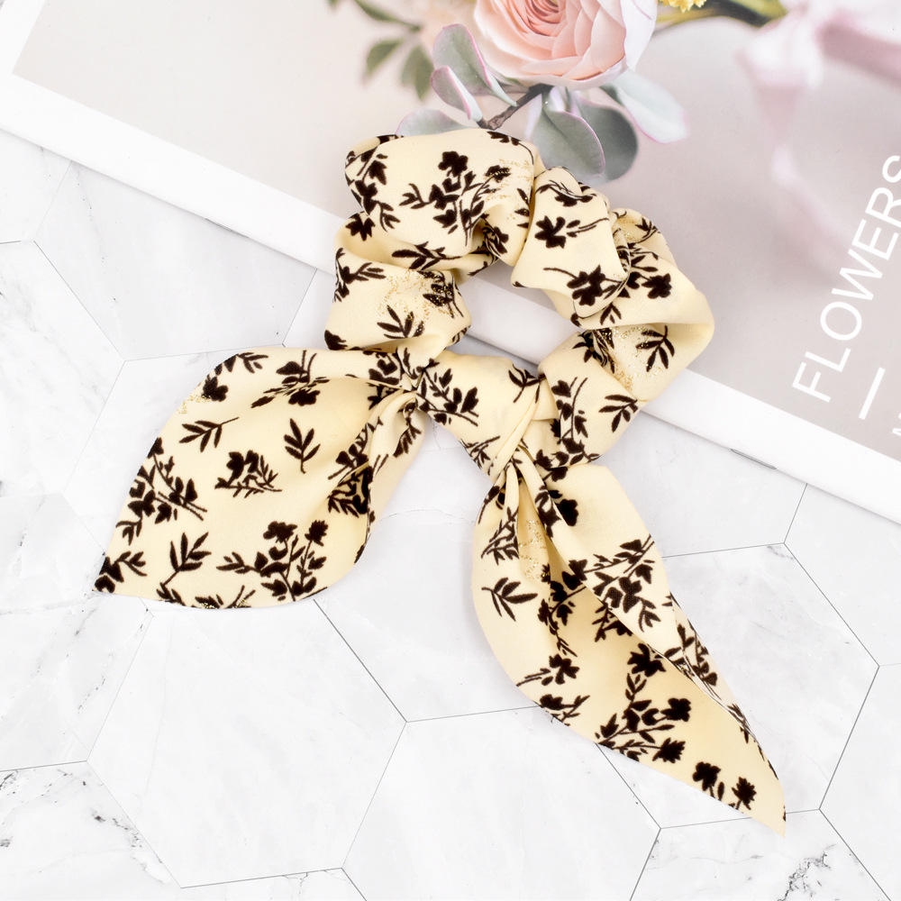 fashion floral gold powder maple leaf hair scrunchies NHCL331563