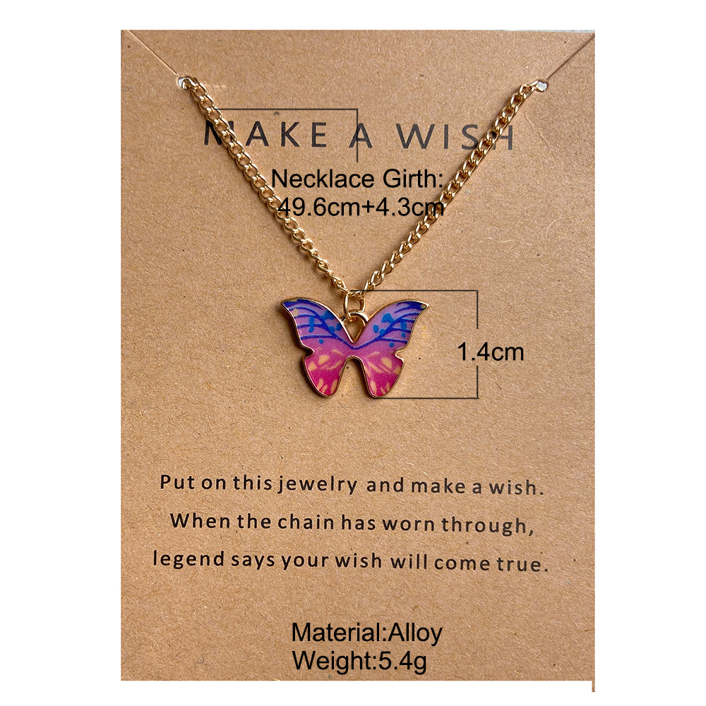 Simple Fashion Retro Multicolor Butterfly Necklace NHYI363818
