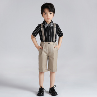 Children's suit striped shirt strap two-piece set of 2021 spring and summer boys kindergarten chorus stage costume