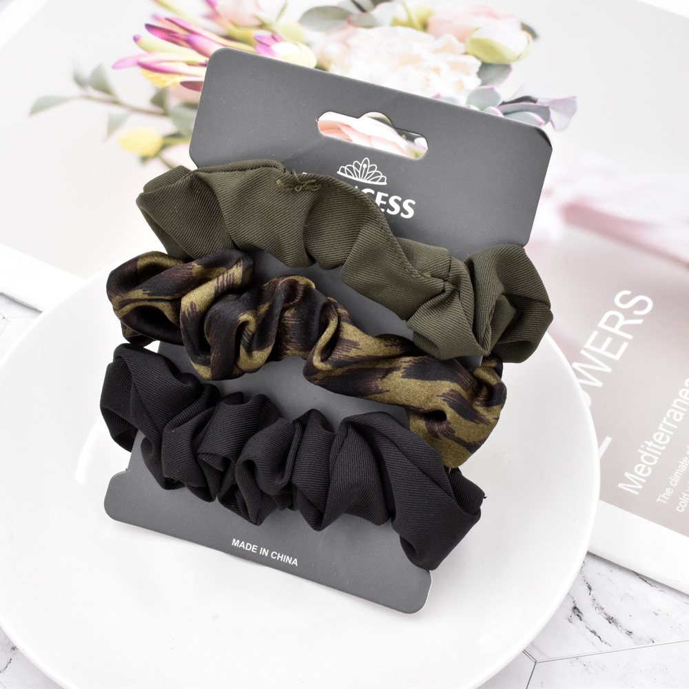 fashion solid color printing hair scrunchies set NHCL331564