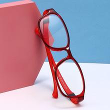 2020红色复古金属儿童强框全框架椭圆形脸眼镜时尚儿童镜批发