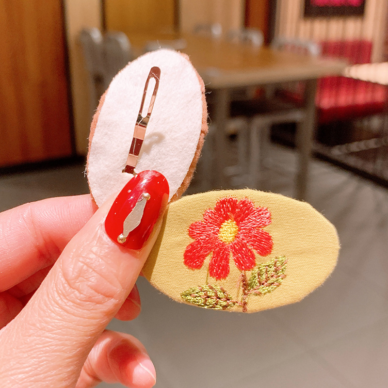 New flower retro embroidery floral hair clip set NHSA339975
