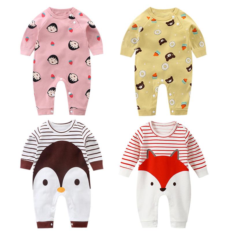 婴儿连体衣 春秋新款哈衣长袖纯棉爬服宝宝服装 婴儿衣服一件代发