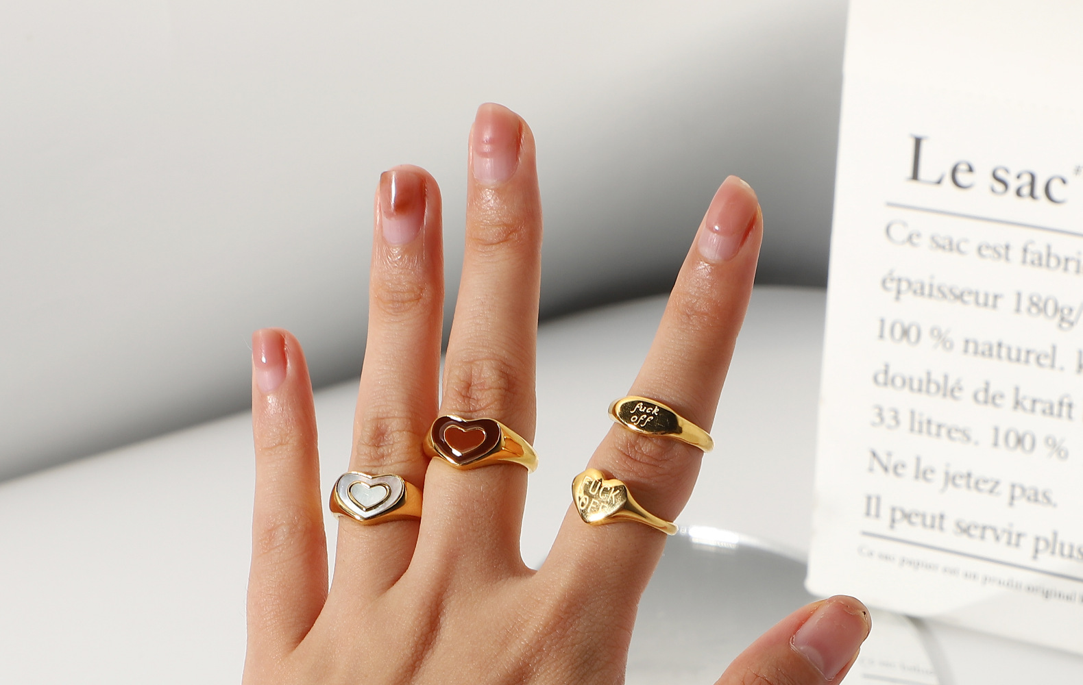 fashion stainless steel heart ring NHJIE357200